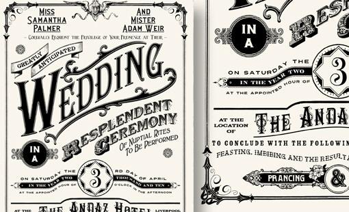 Vintage Typography Wedding Invitations