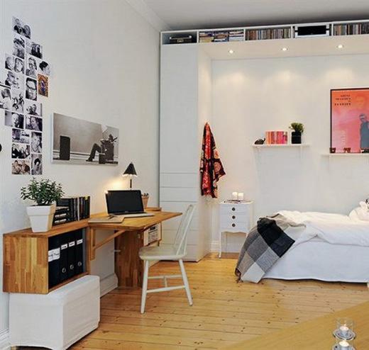 Scandinavian-Home-Office-in-Bedroom