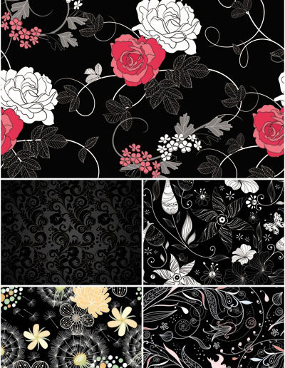 dark-floral-patterns-vector