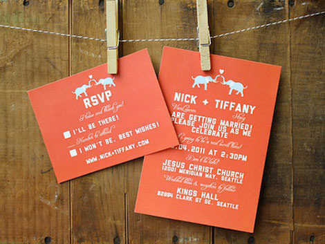 14-Wedding-Invitation-Set-elephant-theme-in-coral-and-blue-custom-colors-available
