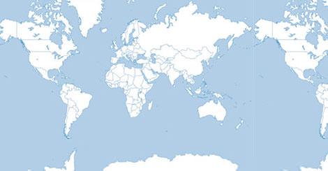 国境ラインのみが描かれた、シンプルで使いやすい無料ベクター世界地図。