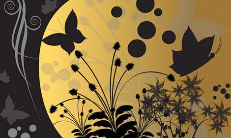 1529-Fantasy-Garden-at-Night---Vector-Desig