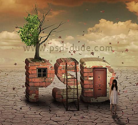 brick-text-surreal-photoshop