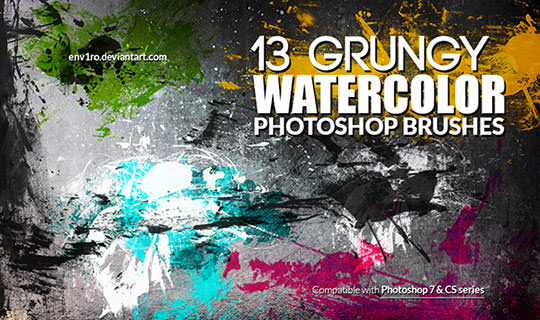 13_Grungy_Watercolor_Photoshop_Brushes_by_env1ro