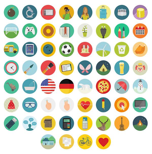 60-Free-flat-round-icons-set