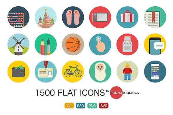 商用可でPS&AI対応!フラットスタイルの無料アイコン素材60個セットFlat Icon Set