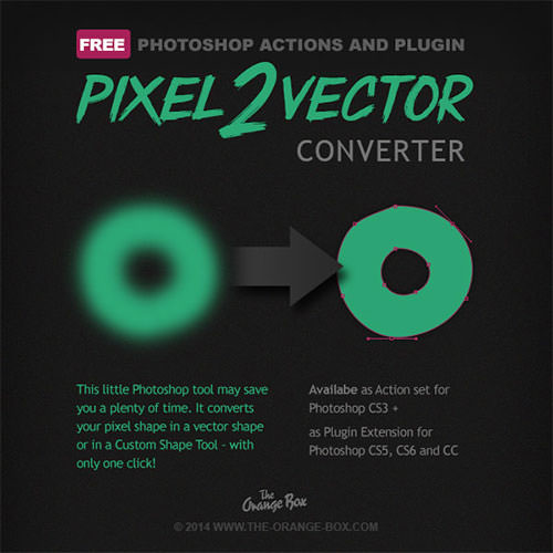 Photoshop Actions and Plugin Pixel2Vector Converter - Orange Box