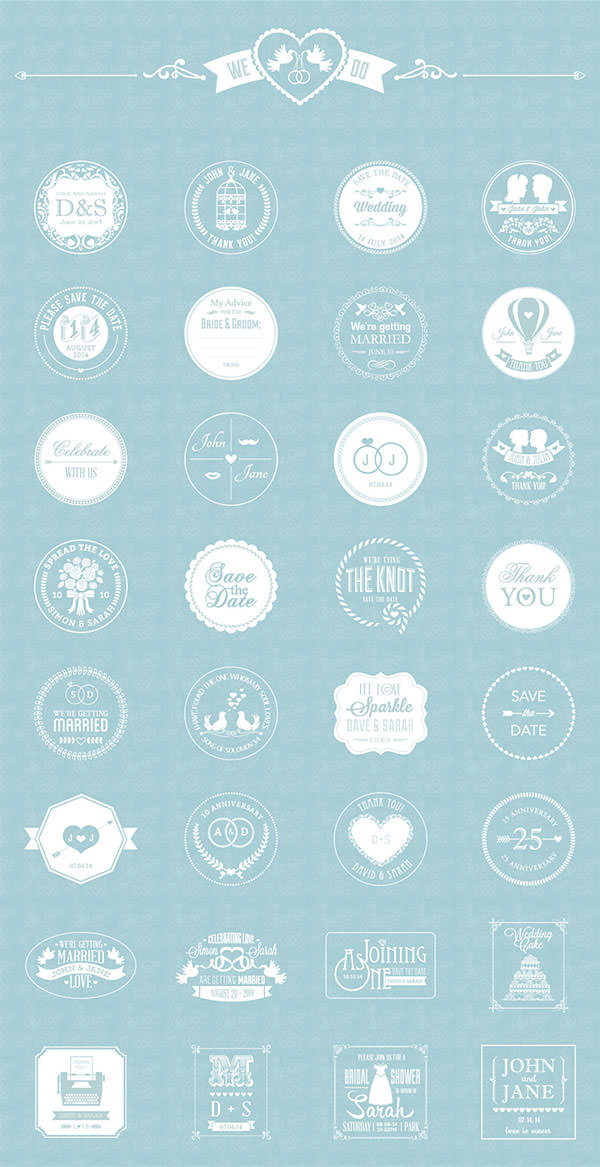 Free Wedding Badges Pack - Crazyleaf Design Blog