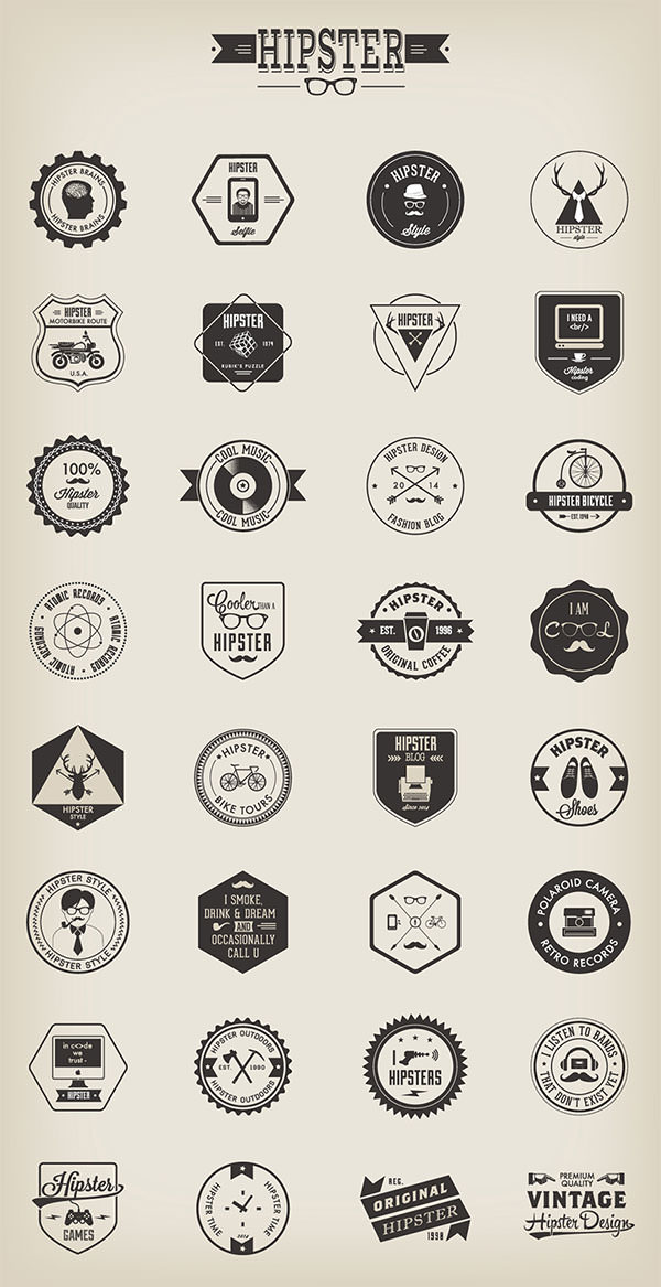 Freebie 32 Hipster Badges (AI, EPS, PNG)