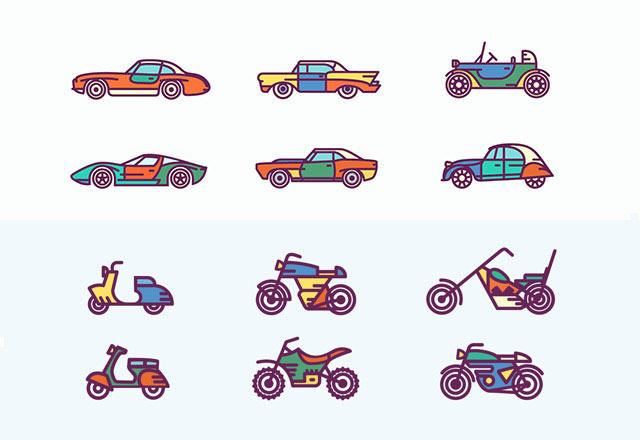 retro-car-icons