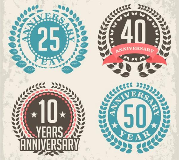 Anniversay laurel badges vector - free download