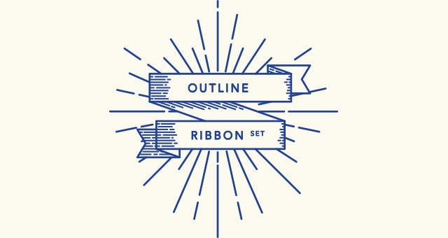 outline-ribbon-retro-set