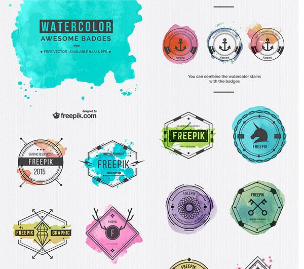 watercolor-badges
