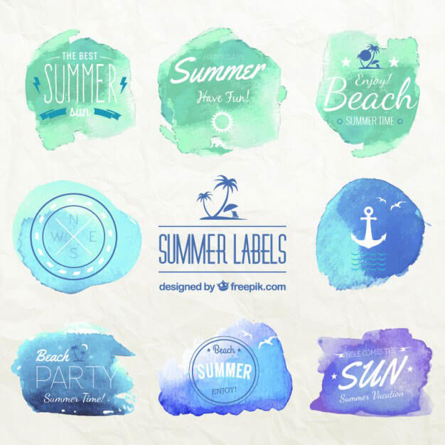 summer-labels-vector