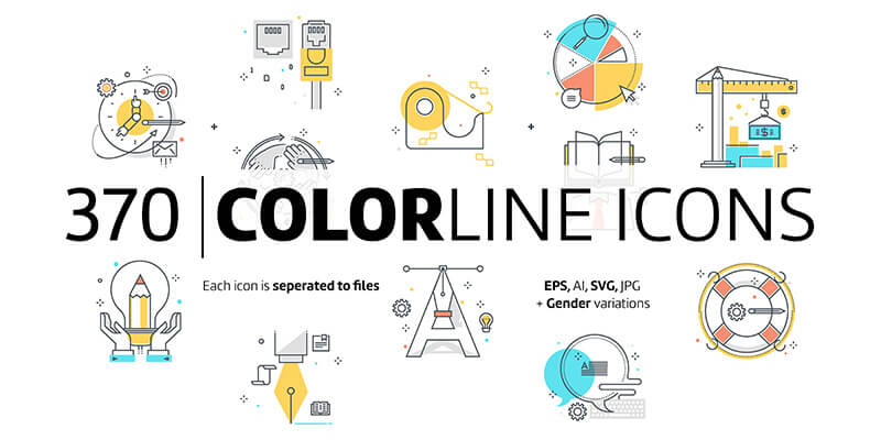 Color line icons by howcolour