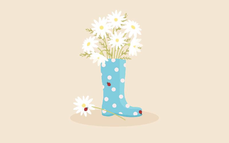 rain-boot-with-daisies-in-adobe-illustrator