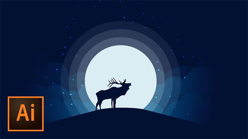 animal-silhouette-moonlight-vecdtor