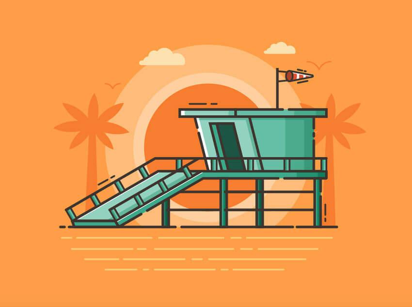 beach-gurad-tower-illustration