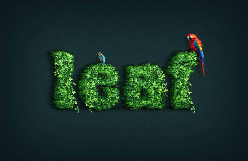 leaf-covered-text-effect-action