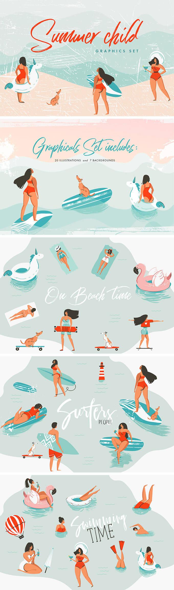 c229fbef62d 水着の女性やフラミンゴ、ユニーコーン型浮き輪、イルカなど夏をテーマにしたイラストベクター素材で、20種類のイラストと7種類の背景デザインが揃います。
