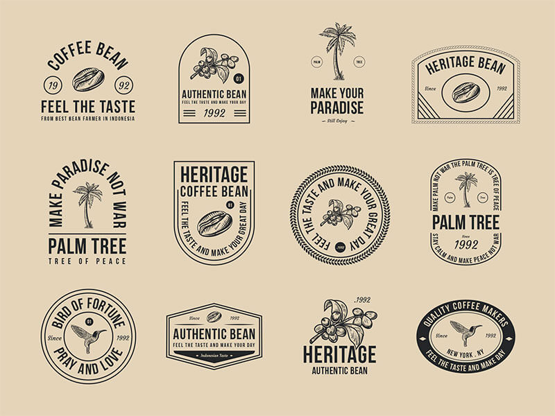 coffee-and-palm-tree-badges