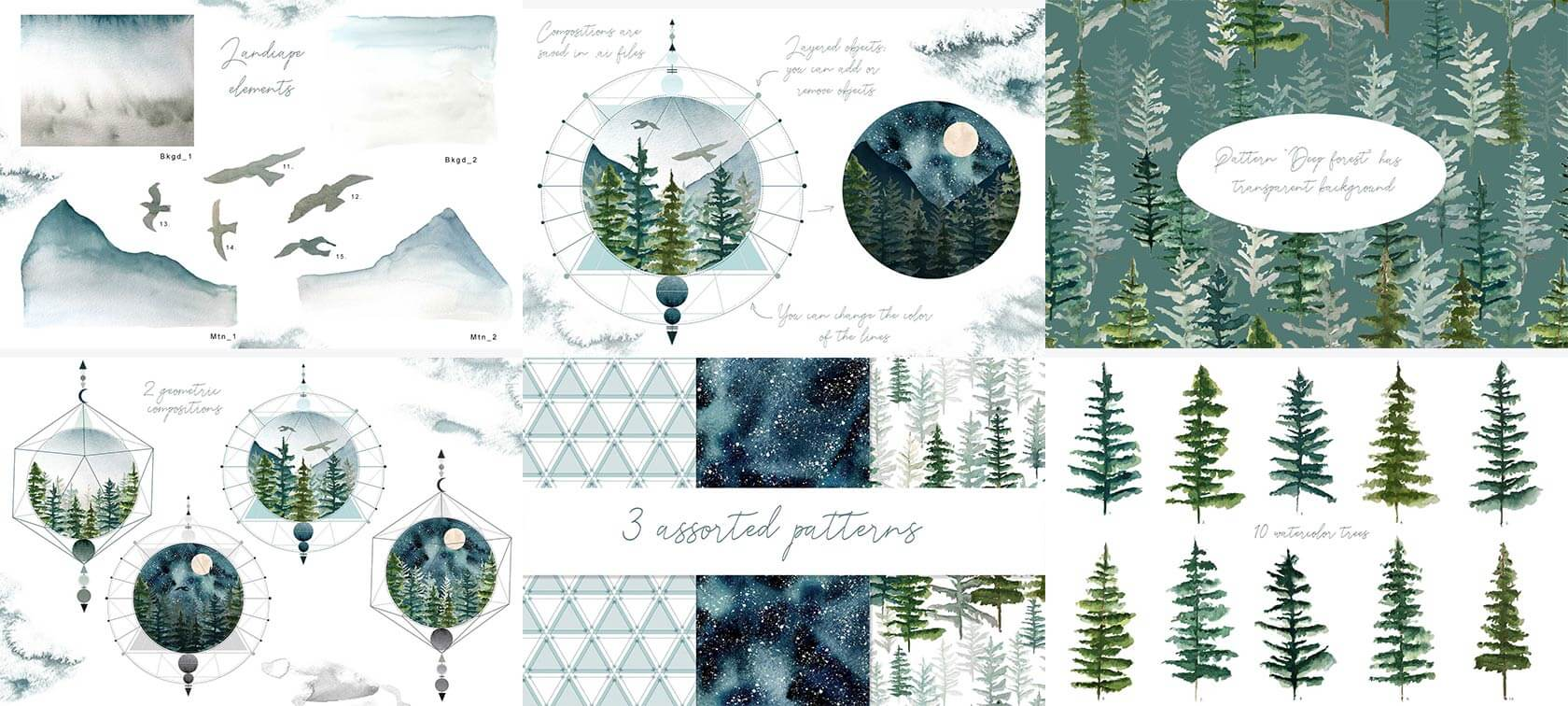 Watercolor-Fir-Trees-Mountains-2