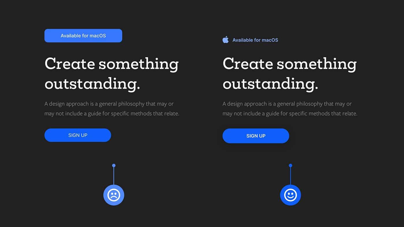 UIデザイン要素を区別できるようにした例